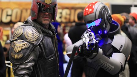 Adam Leishman, left, and Matthew Martin on costume in the London Super Comic Convention at the ExCeL