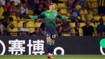 Coventry City goalkeeper Ben Wilson during the Carabao Cup Second Round match at Vicarage Road, Watf
