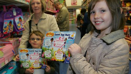 Jack, Carol and Sophie Thorp on the hunt for Easter Egg's in Smyth's toy store