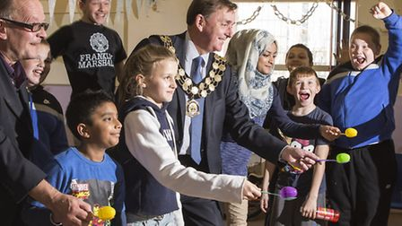 Newham Mayor Sir Robin Wales and councillor Andrew Baikie joined in the fun at the community centre
