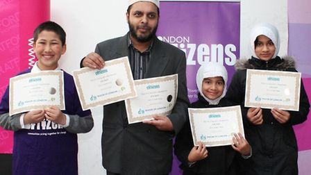 Pupils from Alif Academy with head teacher Hafiz Abdullah Muhammad at the launch of the Stratford Centre CitySafe Zone