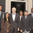 Students from east London schools and colleges with Lord Young at Number 10