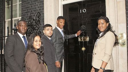 East London students knock on Number 10 Downing Street
