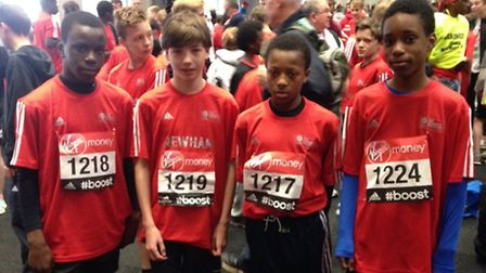 Runners from Forest Gate community school Kenny Lither, Miguel Fernadez, Samba Tanba, Andre Lither and Najmul Islam