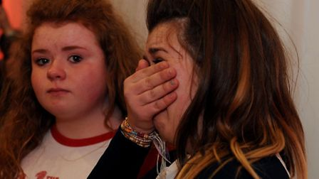 Tillie Wilas, 14 and Molly Wilas, 16 queue to meet The Vamps. Photo: David Mirzoeff
