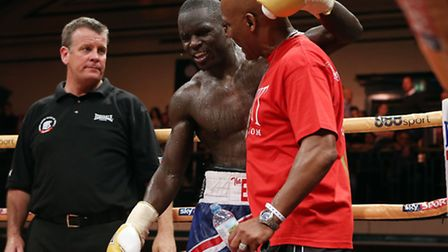 Erick Ochieng after his win against Paddy Gallagher. Pic: Rob Newell/TGSPHOTO