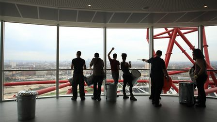 Multi-award winning phenomenon STOMP give an exclusive performance at the top of the ArcelorMittal Orbit.