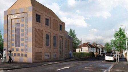 South corner view of the original proposal for a new South Woodford Mosque. The plans were rejected by a Redbridge Council...