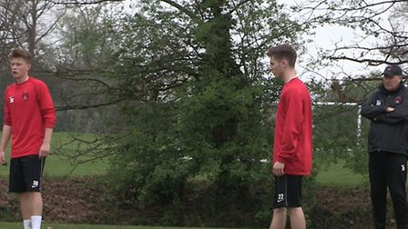 Jake Burgess (left) training with Leyton Orient under the watchful eye of manager Russell Slade