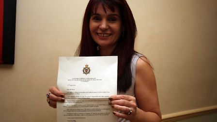 Mrs Moss with her letter from Bristol CID
