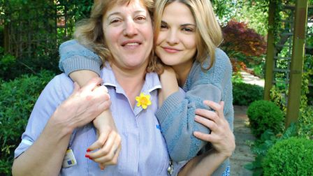 Gemma Gregory and Marie Curie Health Care assistant Elizabeth Goze launch this year's Hampstead Hug campaign in the...