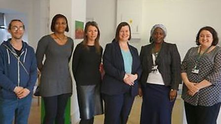 Meg Hillier MP (Third from right) with St Mungo's Broadway staff, resident Jamie and Hackney Council Officers at Mare Street