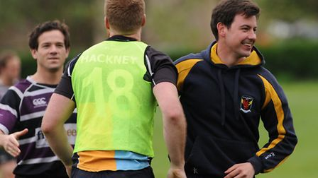 Hackney coach Gareth Hatherley-Hurford (right) is delighted with his side's result, while Ollie Hart (centre) is...