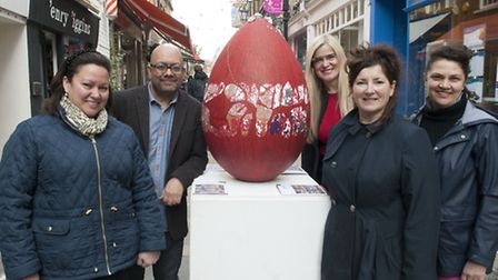 The Egg is Cooked installation in Flask Walk:Pictured are (from left) Jessica Learmond-Criqui, Sanjay Patni, Eva Pascoe,...