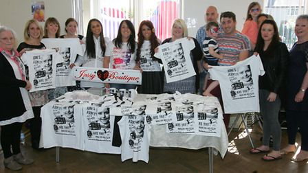 Charity stall holders pictured with Lydia Lucy from X Factor