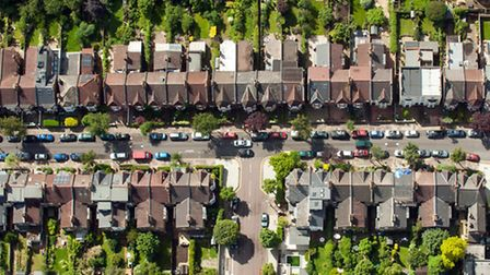 Aerial view of houses on residential streets in Muswell Hill, north London. PRESS ASSOCIATION Photo. Picture date...