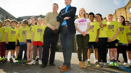 Grasmere pupils have signed up to the Run Hackney schools challenge. Cllr McShane is pictured in the centre of the photo.