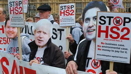 Anti-HS2 campaigners from Camden join hundreds in protest outside parliament on Monday. Picture: Polly Hancock