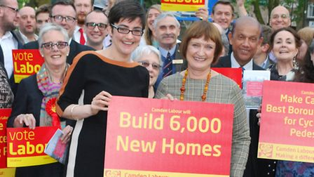 Camden Labour launch their 2014 election manifesto. Pictured front centre, Camden Council leader Sarah Hayward with Labour...
