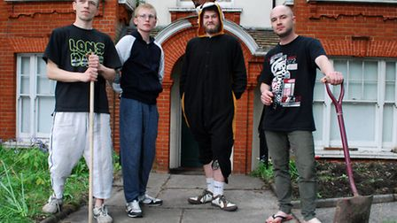 Squatters Martin Kozubski (31), Aurimas (24), Matthew (21) and Ecko (28) have started work on the garden at their new home...