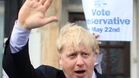Boris Johnson, Mayor of London, visits Conservative party supporters at Gants Hill, ahead of the local elections in May 22th.