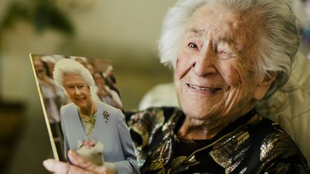 Jean Platman with her card from the Queen. Picture: Lara Platman