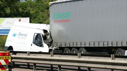 The scene of the crash on the A12