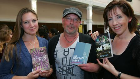 Childrens authors Sharon Gosling, Kevin Brooks and Ali Sparkes
