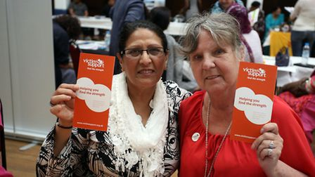 Tasneem Shah and Eileen Simpson from Vicitim Support at the fair