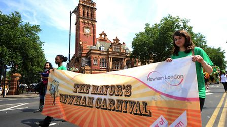 The Mayor's Newham Show parade passes East Ham Town Hall. Photo: David Mirzoeff