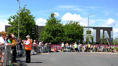 People line the street on Westfield Avenue outside the Copperbox.