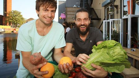 Massimo, left, and Remi, are launching the Food Assembly every Tuesday at the 90 Bar in Hackney Wick.