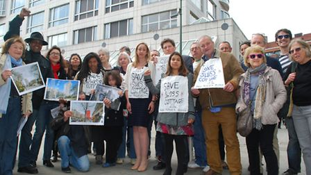 The Save Swiss Cottage campaigners gather outside 100 Avenue Road. Picture: Polly Hancock