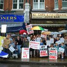 Traders and residents gathered in South End Road to demonstrate their objection to the proposed new Sainsbury's store.