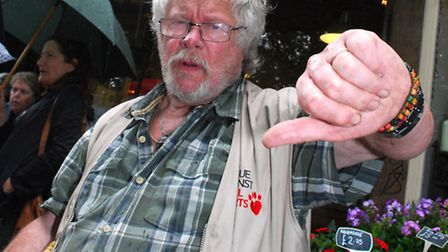 Local resident Bill Oddie gave a thumbs down to the proposed new Sainsbury's Local store. Picture: Polly Hancock