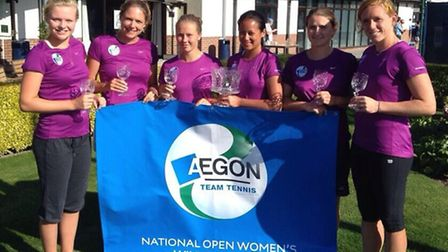 Left to right: Cumberland's Harriet Dart, Kate Green, Fran Stephenson, Lena Keothavong (captain), Becky Llewellyn and...