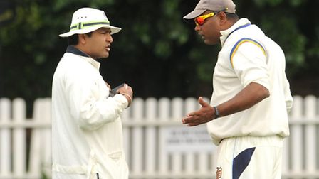 Wembley captain Chulananda de Silva (right) exchanges opinions with the umpire. Pic: Paolo Minoli