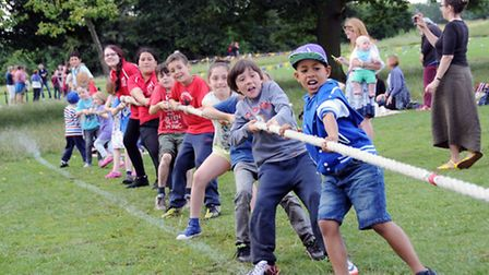 Children play a tug-of-war in the Alternative Commonwealth Games at Hampstead Heath on Sunday (July 13). Picture: Dieter...