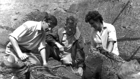John Hesketh showing the exposed bones to his father Mr J A Hesketh (Picture: Janet Hesketh)