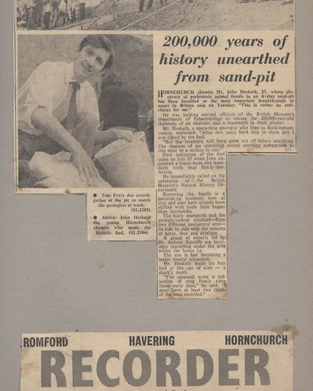 Cuttings taken from the Recorder's coverage of the find in 1964
