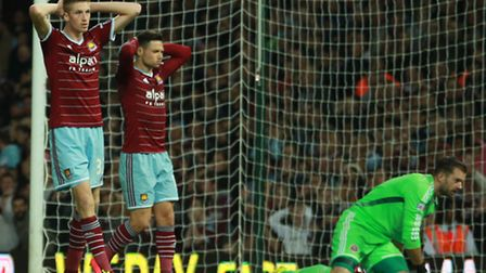 Capital One Cup Second Round. West Ham United misses a shot.