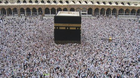 Thousands throng around the Kaaba at the Grand Mosque in Mecca