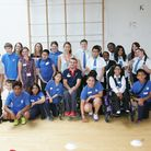 Paralympian Andy Barrow with students at their sports day