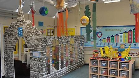 The Reception class at Hallsville Primary built a role-play church in its classroom
