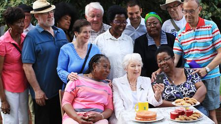 Eastender actress June Whitfield pose with people from Age Concern Hackney in a national campaign, sponsored by EE, to...