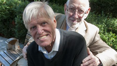 """""""Rainbow"""" George Weiss and Ronnie Carroll (front) celebrate Mr Carroll's 80th birthday. Picture: Nigel Sutton"""