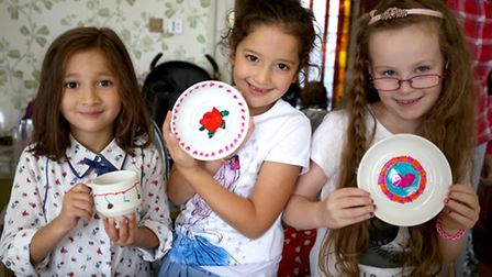 Lena D'Sivla 5, Ria D'Sivla 6 and Hadassah Staniland 7 taking part in the Creative Crockery event at Valentines Mansion in...