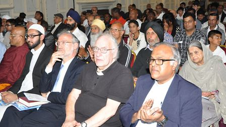 (From right to left, front row) Father Britto Belevendran, Father Dennis Hall (Christain faith) Rabbi David Hulbert (Jewish ...