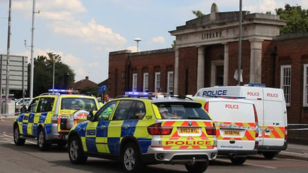The police presence at Gants Hill Library, where the accident took place