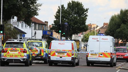 Police vehicles at the scene